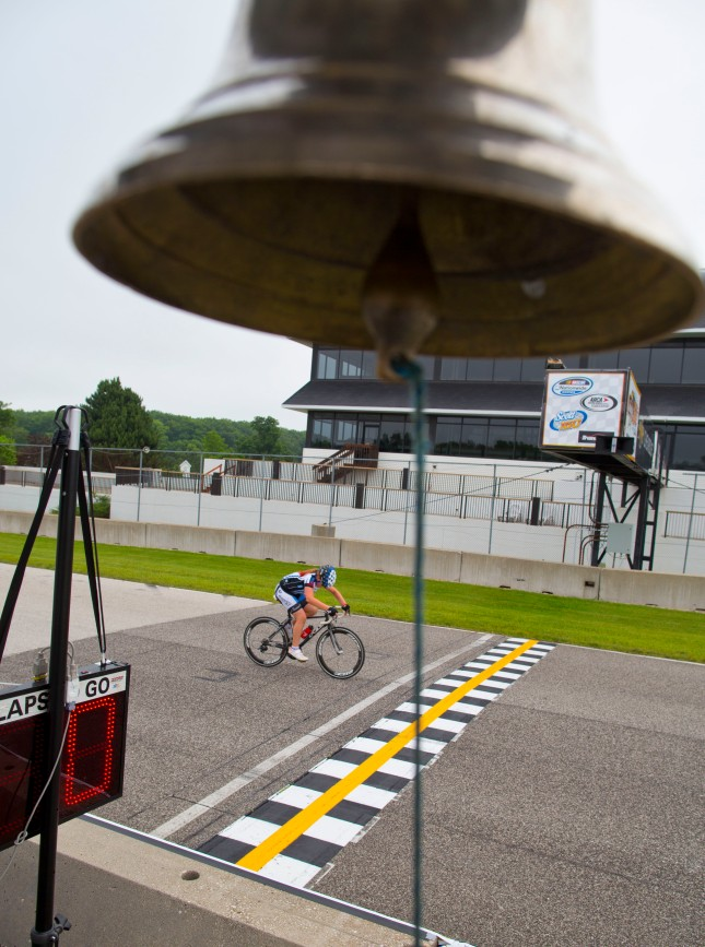 A bell and a checkered finish line at TOAD by Jeffrey Phelps